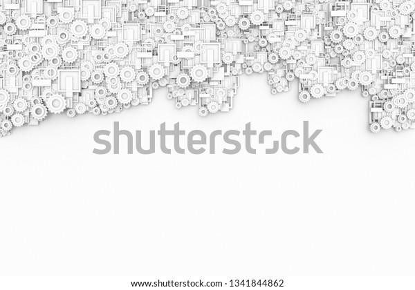 White Modern 3d Futuristic Gear Element Stock Illustration 1341844862
