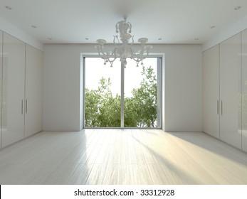 White modern chandelier in a white sunny  room.