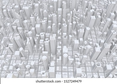 White modern city. Isolated on white background. 3d rendering.
