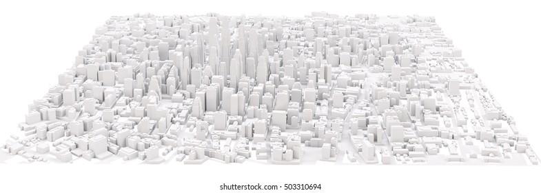 White modern city. Isolated on white. 3D rendering