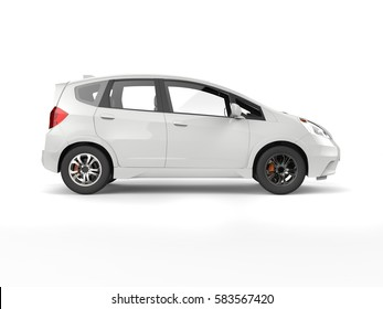 White modern compact electric car - side view - 3D Render