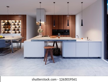 white modern design kitchen with lamp. 3d rendering