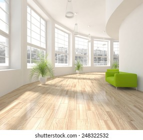 white modern interior with panoramic windows with green armchairs-3D rendering