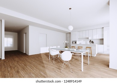White Modern Kitchen and Dining Room Furniture in new Minimalistic Interior 3d render