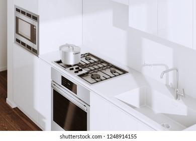 White Modern Kitchen Furniture Closeup 3d render