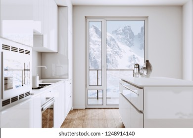 White Modern Kitchen Furniture in new Minimalistic Interior with Mountain view 3d render