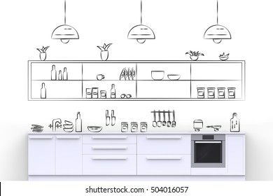 White modern kitchen with hand drawn painted on wall doodle kitchenware and kitchen accessories. Front view. 3D render.