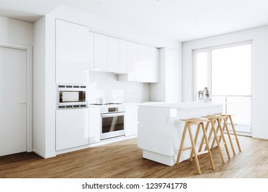 White Modern kitchen in a loft 3d render