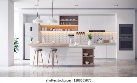 White Modern kitchen room interior .3drender