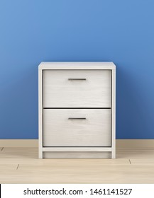 White modern nightstand in the room, 3D illustration