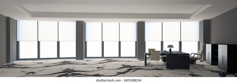 White modern office interior with white marble floor. 3D rendering.