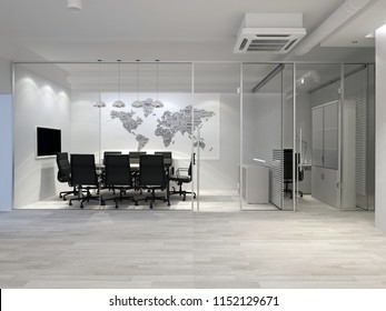 White modern office interior. Meeting room with world map on wall. 3D rendering.