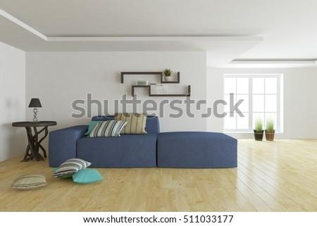 Wondrous White Modern Room Blue Sofa Scandinavian Stock Illustration Inzonedesignstudio Interior Chair Design Inzonedesignstudiocom