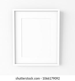 White modern wood frame on a white plaster wall