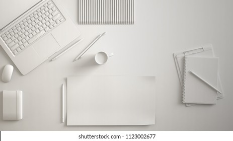 White monochrome minimal office table desk. Workspace with laptop, notebook, pencils and coffee cup. Flat lay, top view, blank paper mockup template, 3d illustration