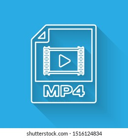 White MP4 file document icon. Download mp4 button line icon isolated with long shadow. MP4 file symbol
