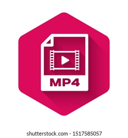 White MP4 file document icon. Download mp4 button icon isolated with long shadow. MP4 file symbol. Pink hexagon button