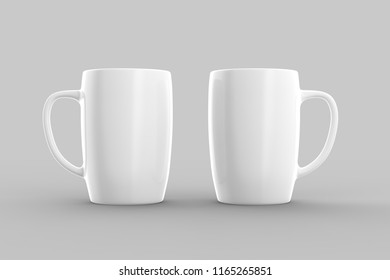 White mug mock up isolated on light gray background. 3D illustration