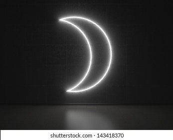 A white Neon Sign in Form of the Moon on a Wall of Concrete