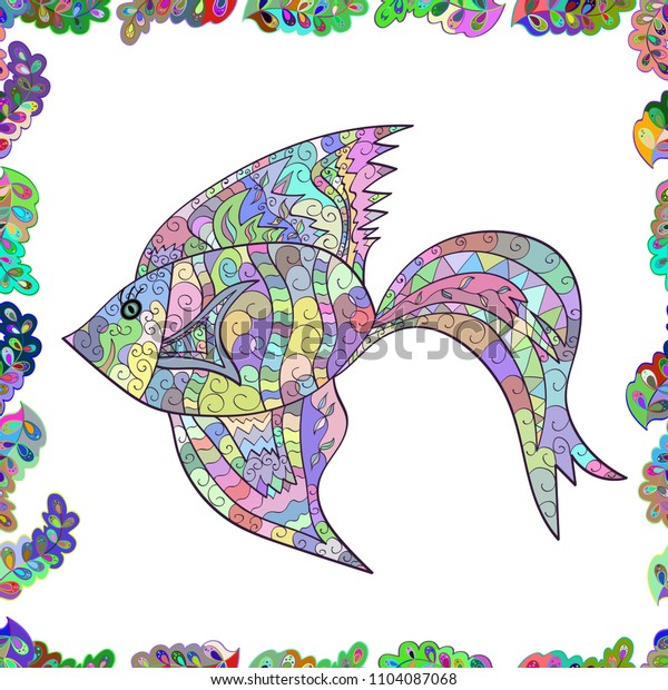 White, neutral and blue. Seamless. Watercolor texture fish pattern.
