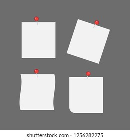 White note papers with thumbtacks icons. Blank paper notices