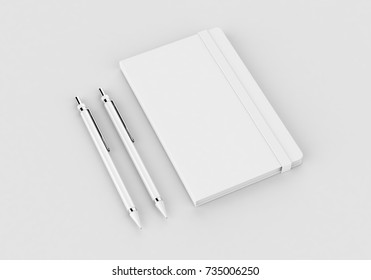 White notepad mock-up template for branding identity on gray background for graphic designers presentations and portfolios. 3D rendering.