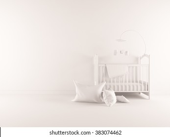 white nursery room. White interior.3d illustration
