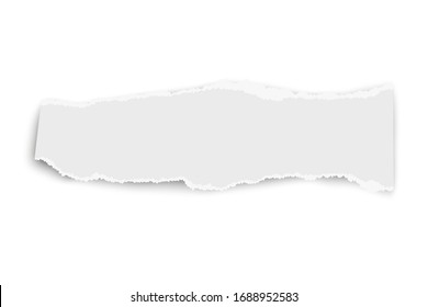 White oblong paper tear with soft shadow isolated