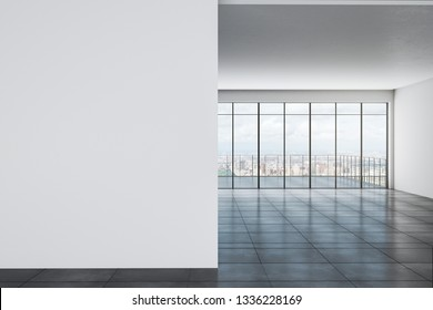 White office with city view and copy space on wall. Mock up, 3D Rendering