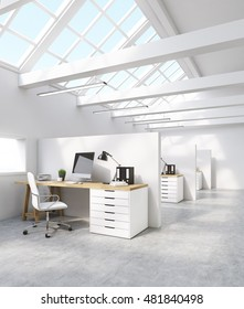 White office interior in attic with computer screen, desk and binders. Concept of international corporation. 3d rendering
