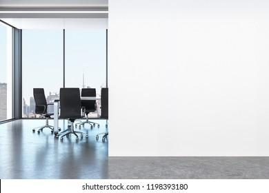 White office interior with copy space on wall, city view and furniture. Mock up, 3D Rendering