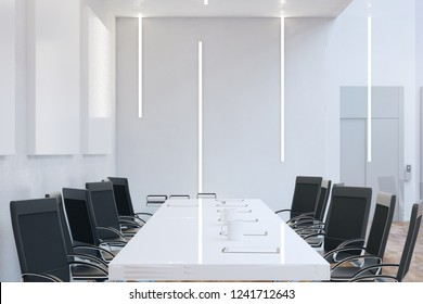 White office interior with furniture and daylight. 3D Rendering