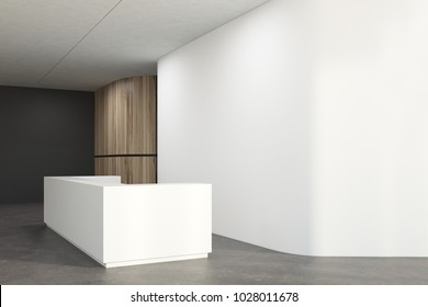 White office lobby corner with a concrete floor and a white reception desk near the wall. 3d rendering mock up