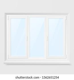 White Office Plastic Window. Window Front View. Illustration