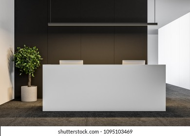 White office reception table with two computers standing in a modern company lounge with a black wall and a potted tree in the corner. 3d rendering mock up