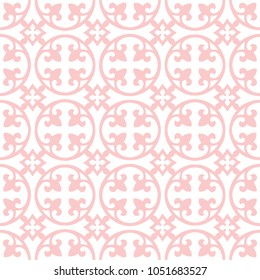 White on pink curved fleur de lis and circle diamond pattern seamless repeat background