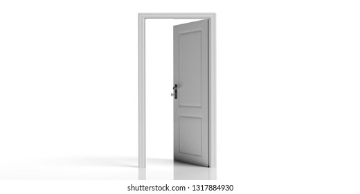 White open door isolated on white background, copy space. 3d illustration