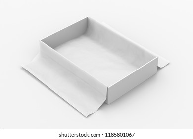 White open gift box mockup on white background with unfolded white wrapping paper. Box is rectangular and flat. 3d illustration
