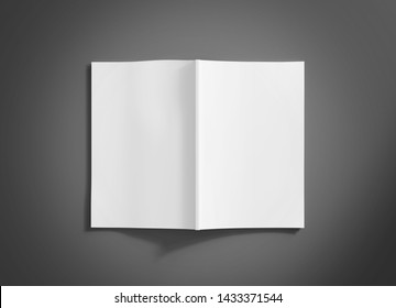 White open magazine soft cover mockup isolated on grey background 3d rendering