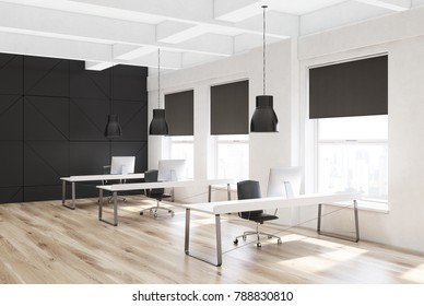 White open space office corner with a wooden floor, tall windows with blinds on them, and rows of computer tables. 3d rendering mock up