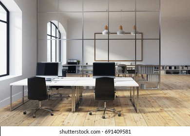 White open space office interior with a large window, a whiteboard, a long table with two computer monitors on it and shelves standing along the walls. 3d rendering mock up