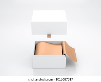 White opened Box packaging Mockup with Flying cover and gold wrapping paper, 3d rendering