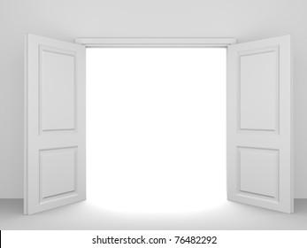 White opened double door