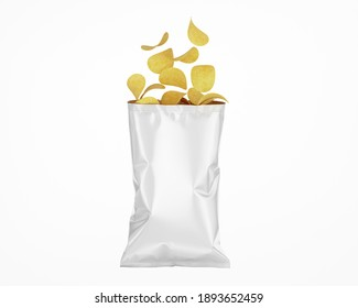White Opened Glossy Snack Package Mockup - 3D Render Isolated on White, Front View
