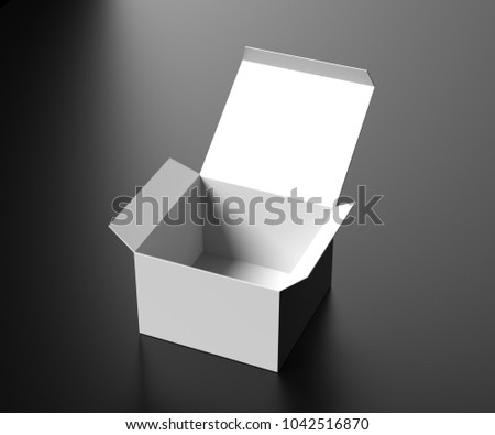 b00d562b4ae27 White opened package box on a dark background. Paper box. Gift template. 3D