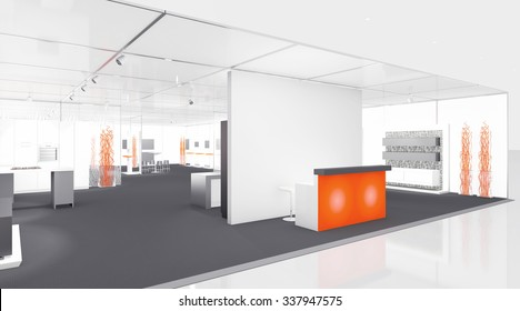white and orange exhibition booth 3d Rendering