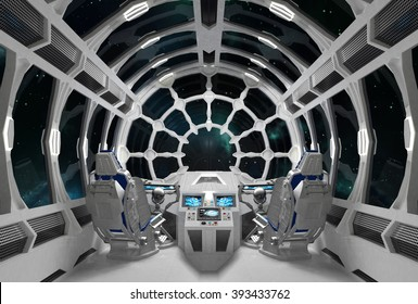White Orion. Spaceship interior with round glass windows. 3D illustration.