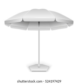 White outdoor beach, garden umbrella, parasol for protection from sun and rain isolated on white background. illustration