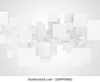 White overlapping blank squares. 3d illustration