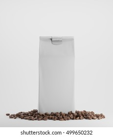 White pack of coffee surrounded by coffee beans and standing against white background. 3d rendering. Mock up
